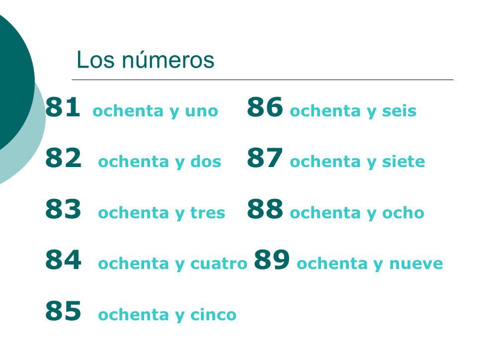 81 ochenta y uno 86 ochenta y seis 82 ochenta y dos 87 ochenta y siete