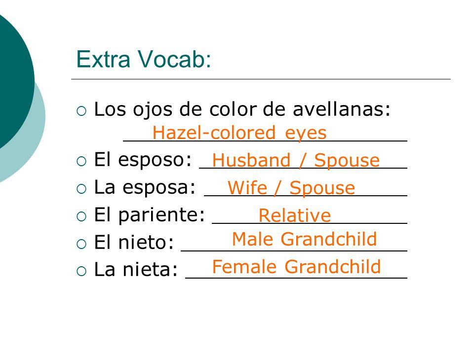 Extra Vocab: Los ojos de color de avellanas: El esposo: La esposa: