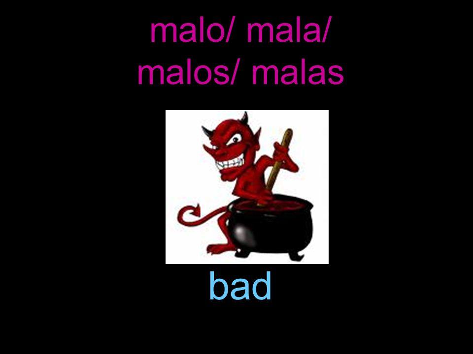malo/ mala/ malos/ malas