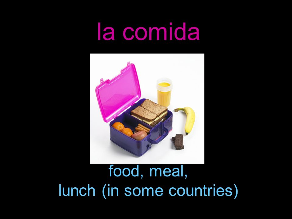 food, meal, lunch (in some countries)