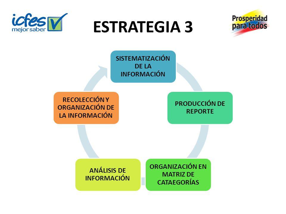 ESTRATEGIA 3 SISTEMATIZACIÓN DE LA INFORMACIÓN PRODUCCIÓN DE REPORTE