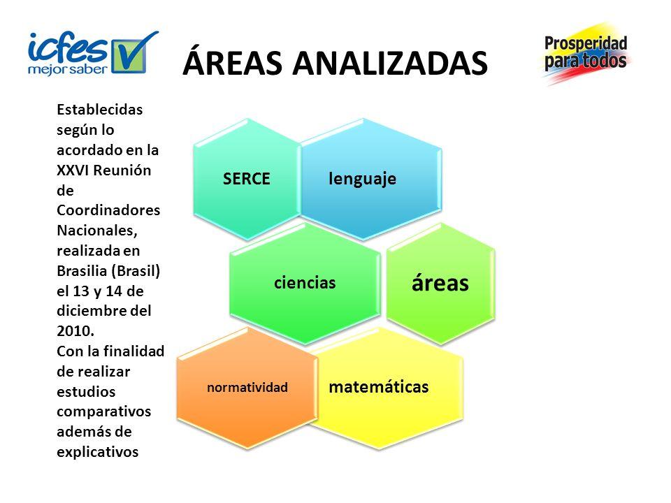 ÁREAS ANALIZADAS lenguaje ciencias matemáticas