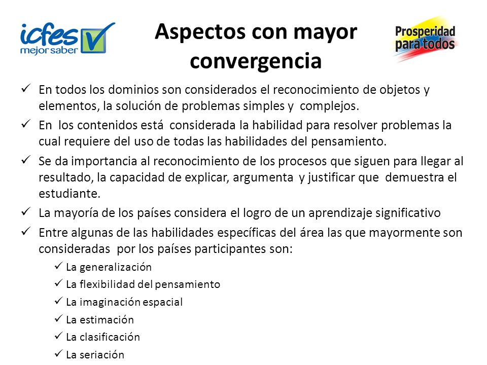 Aspectos con mayor convergencia