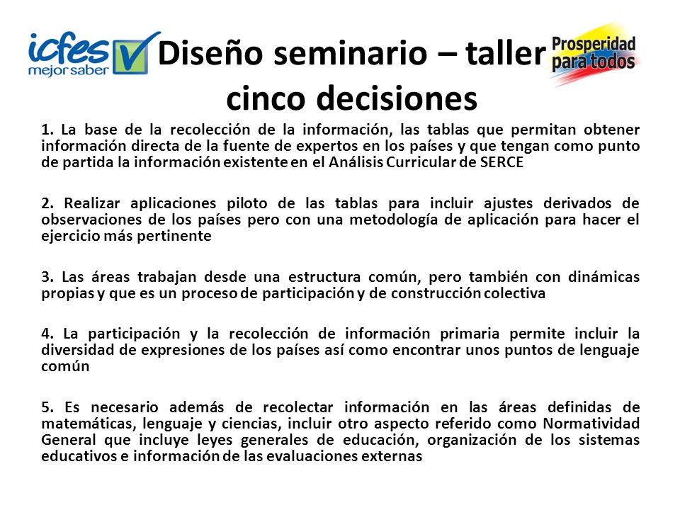 Diseño seminario – taller cinco decisiones