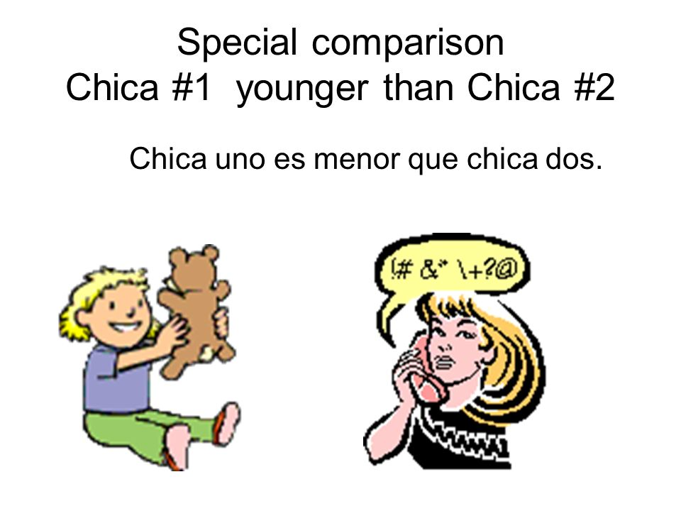 Special comparison Chica #1 younger than Chica #2