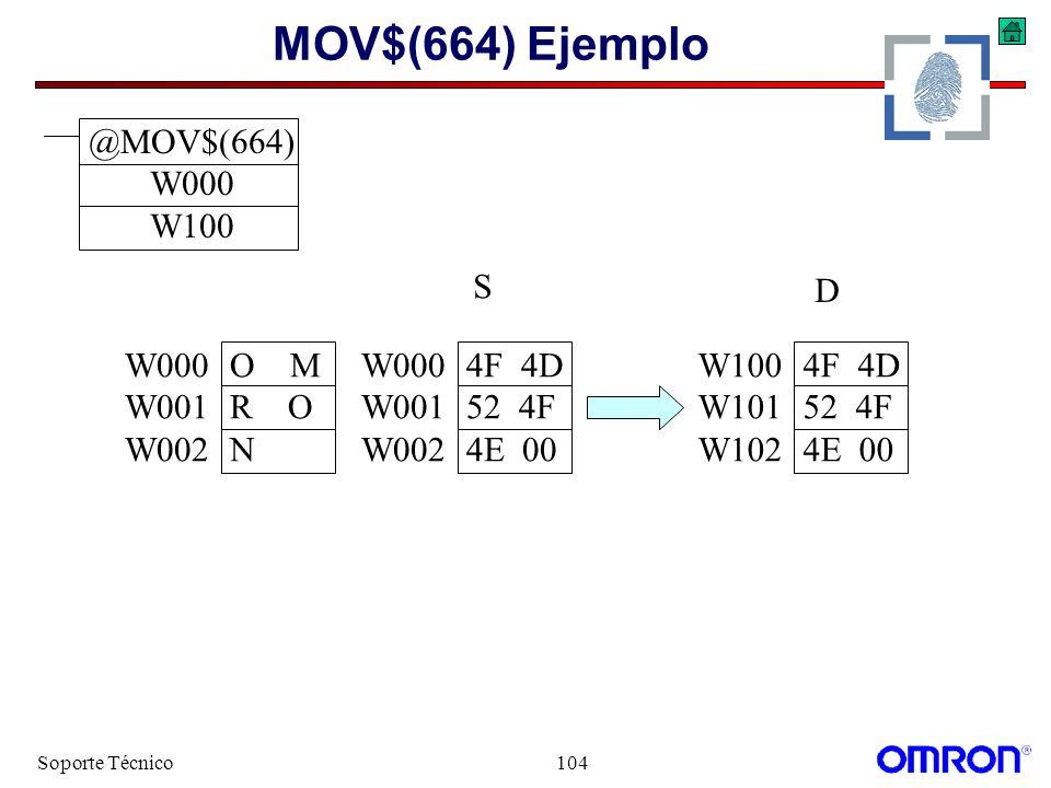 MOV$(664) Ejemplo @MOV$(664) W000 W100 S D W000 O M W001 R O W002 N