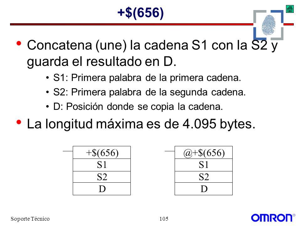 Concatena (une) la cadena S1 con la S2 y guarda el resultado en D.