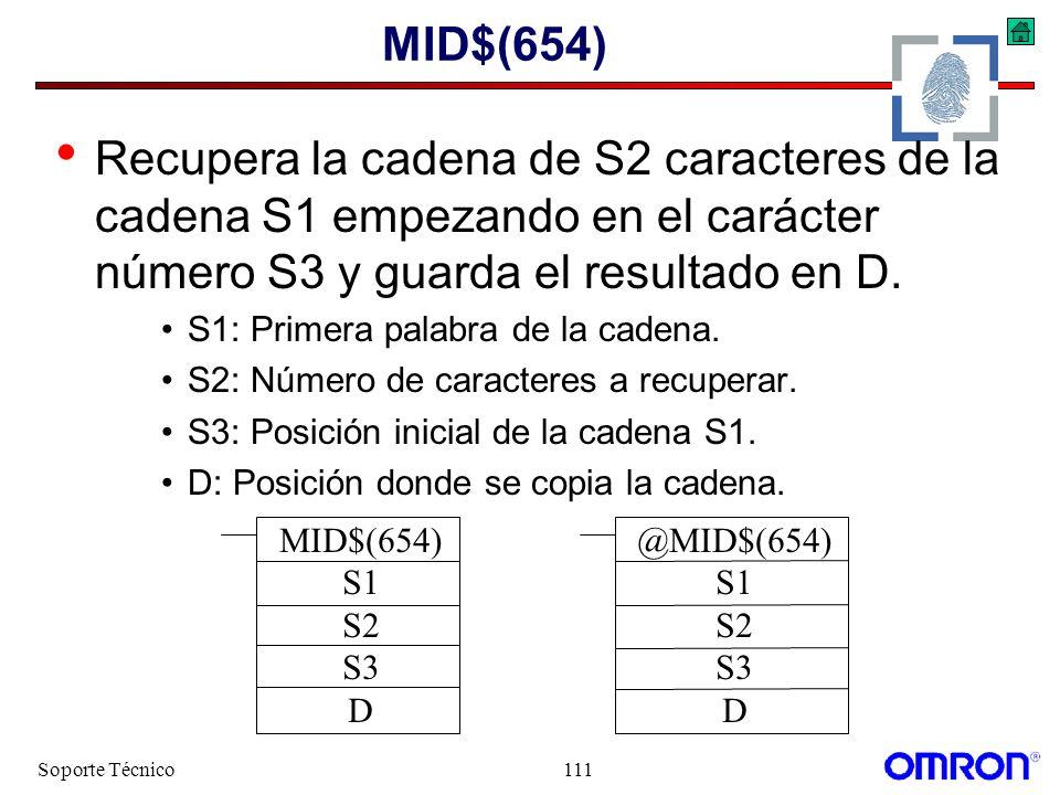 MID$(654) Recupera la cadena de S2 caracteres de la cadena S1 empezando en el carácter número S3 y guarda el resultado en D.