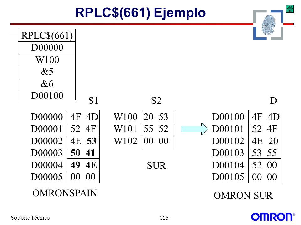 RPLC$(661) Ejemplo RPLC$(661) D00000 W100 &5 &6 D00100 S1 S2 D