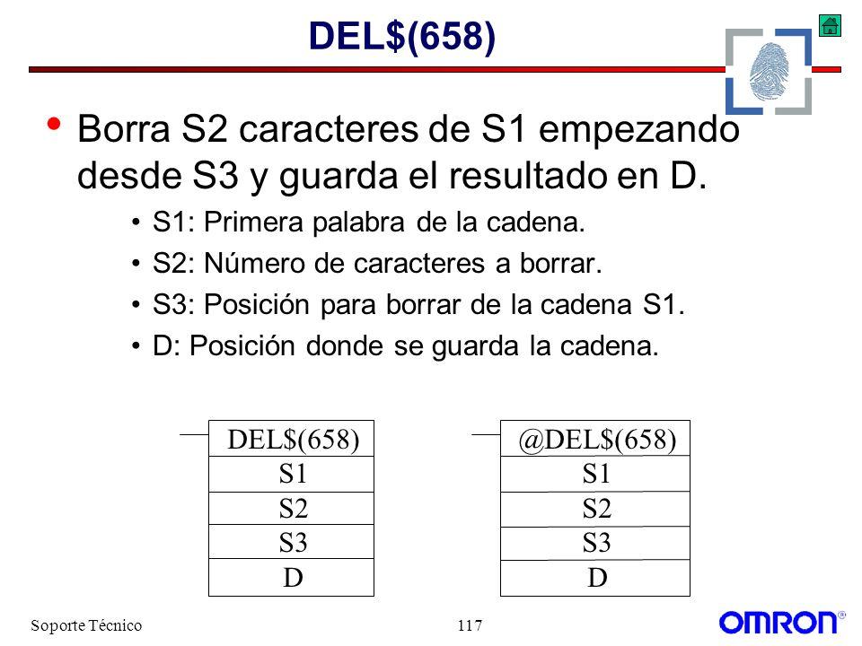 DEL$(658) Borra S2 caracteres de S1 empezando desde S3 y guarda el resultado en D. S1: Primera palabra de la cadena.