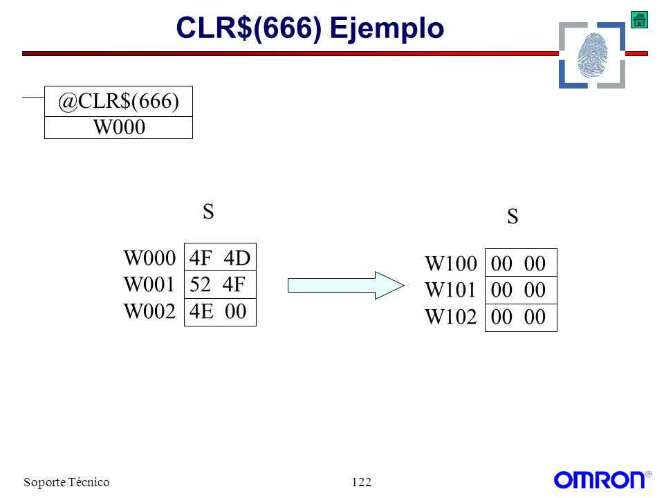 CLR$(666) Ejemplo @CLR$(666) W000 S S W000 4F 4D W100 00 00 W001 52 4F