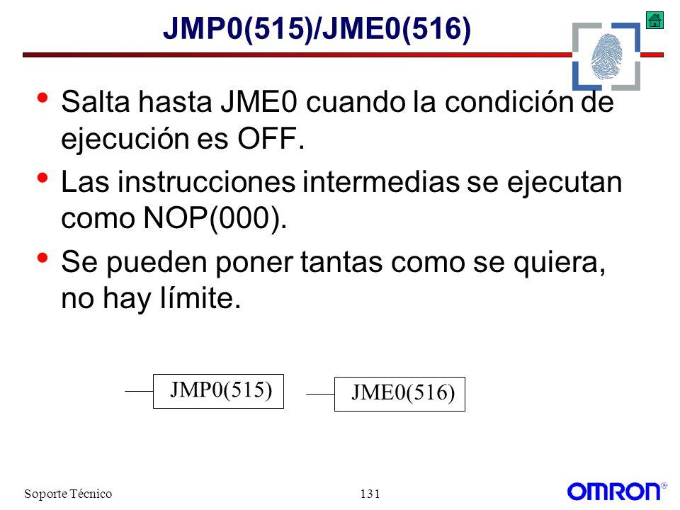 Salta hasta JME0 cuando la condición de ejecución es OFF.