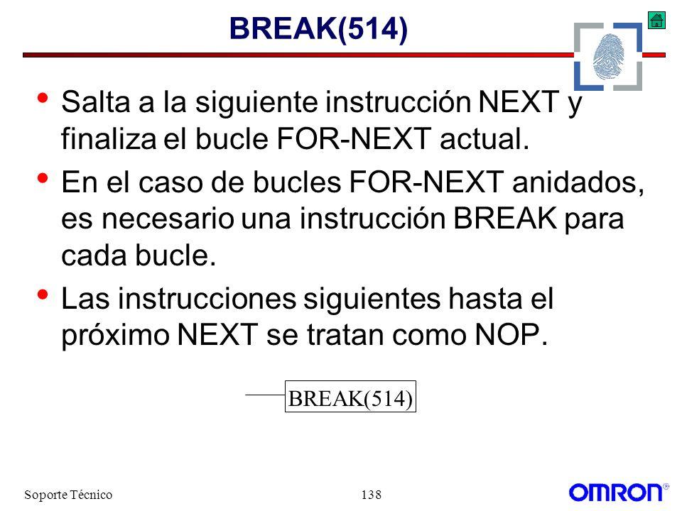 Las instrucciones siguientes hasta el próximo NEXT se tratan como NOP.