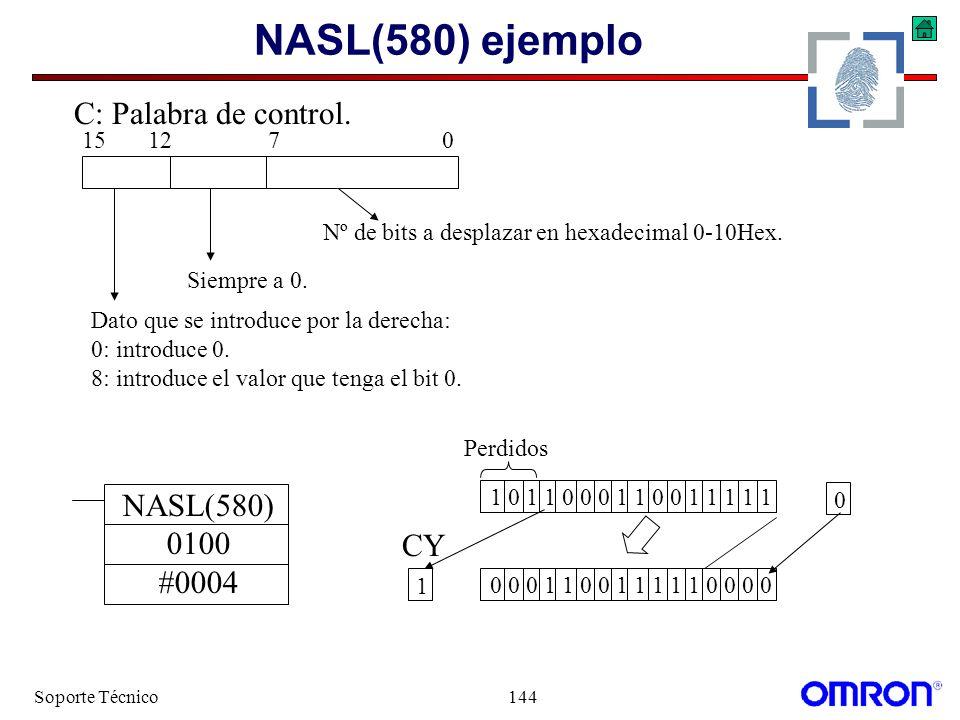NASL(580) ejemplo C: Palabra de control. NASL(580) 0100 #0004 CY