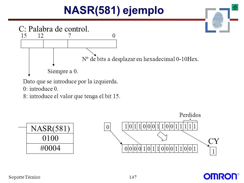 NASR(581) ejemplo C: Palabra de control. NASR(581) 0100 #0004 CY