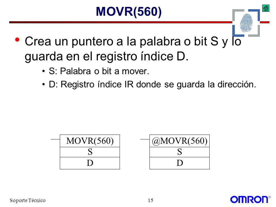MOVR(560) Crea un puntero a la palabra o bit S y lo guarda en el registro índice D. S: Palabra o bit a mover.