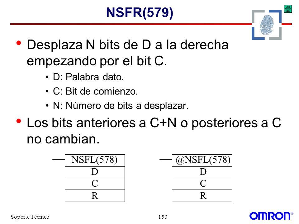 Desplaza N bits de D a la derecha empezando por el bit C.