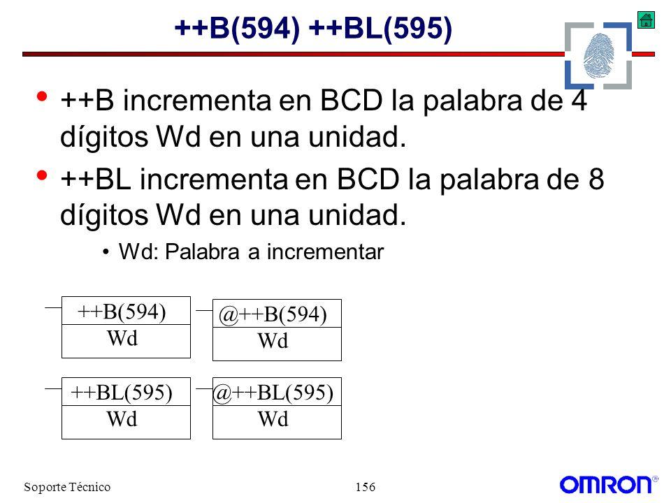 ++B incrementa en BCD la palabra de 4 dígitos Wd en una unidad.
