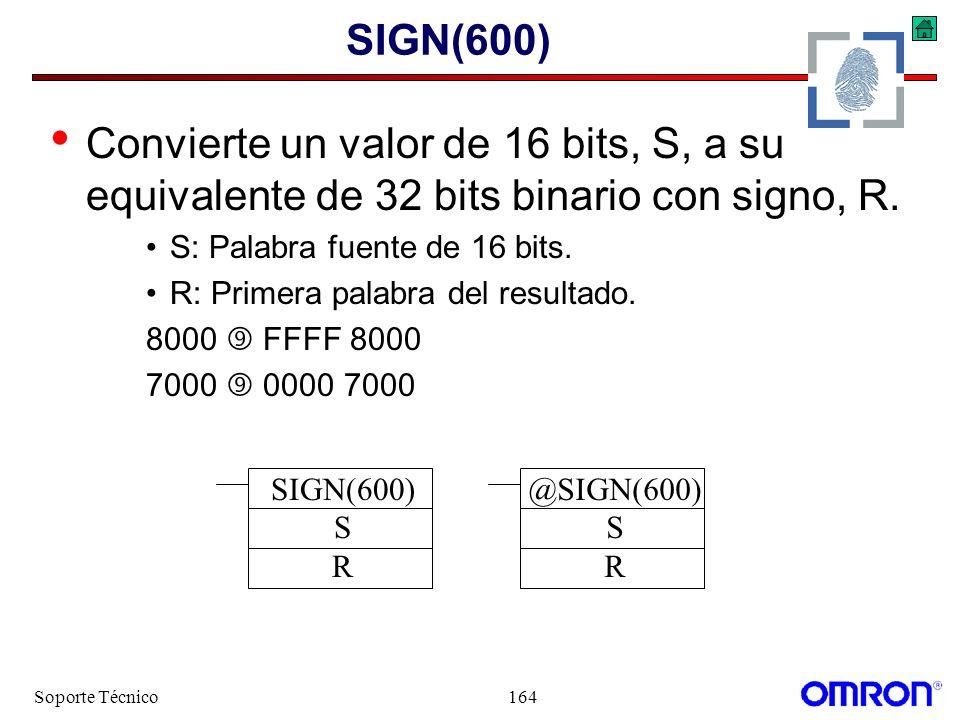 SIGN(600) Convierte un valor de 16 bits, S, a su equivalente de 32 bits binario con signo, R. S: Palabra fuente de 16 bits.