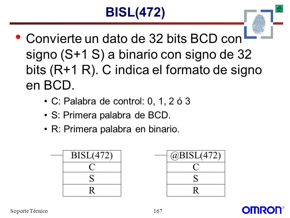 BISL(472) Convierte un dato de 32 bits BCD con signo (S+1 S) a binario con signo de 32 bits (R+1 R). C indica el formato de signo en BCD.