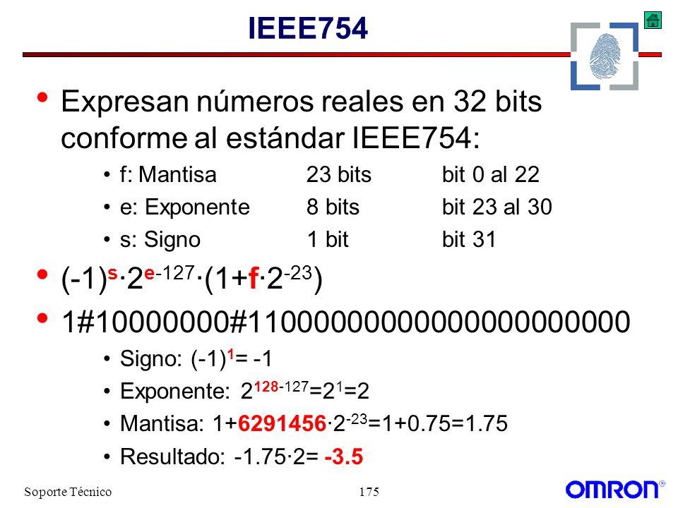 Expresan números reales en 32 bits conforme al estándar IEEE754: