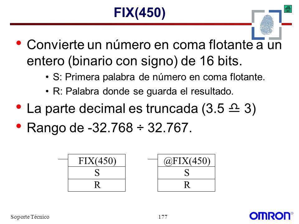 La parte decimal es truncada (3.5  3) Rango de -32.768 ÷ 32.767.