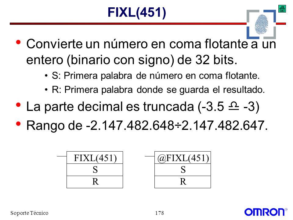 La parte decimal es truncada (-3.5  -3)