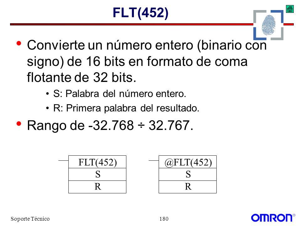 FLT(452) Convierte un número entero (binario con signo) de 16 bits en formato de coma flotante de 32 bits.