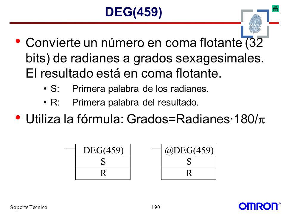 Utiliza la fórmula: Grados=Radianes·180/