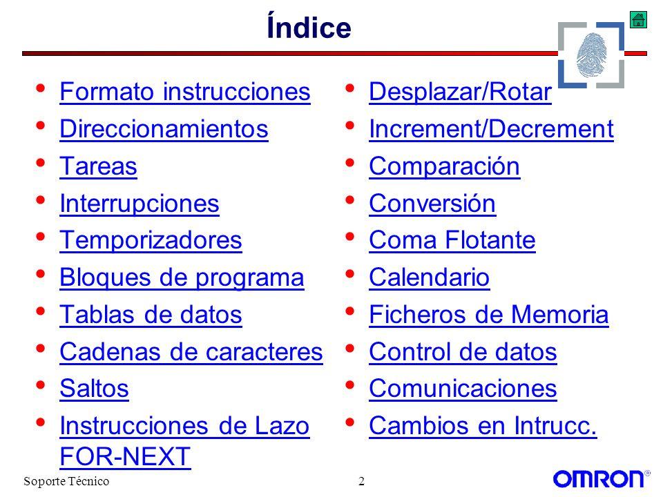 Índice Formato instrucciones Direccionamientos Tareas Interrupciones