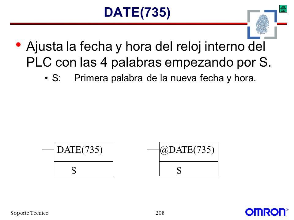 DATE(735) Ajusta la fecha y hora del reloj interno del PLC con las 4 palabras empezando por S. S: Primera palabra de la nueva fecha y hora.