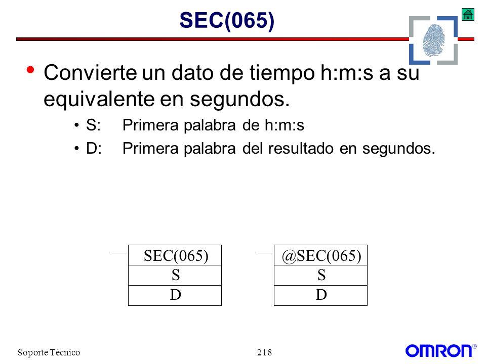 Convierte un dato de tiempo h:m:s a su equivalente en segundos.