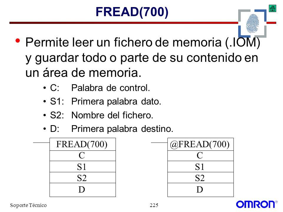 FREAD(700) Permite leer un fichero de memoria (.IOM) y guardar todo o parte de su contenido en un área de memoria.