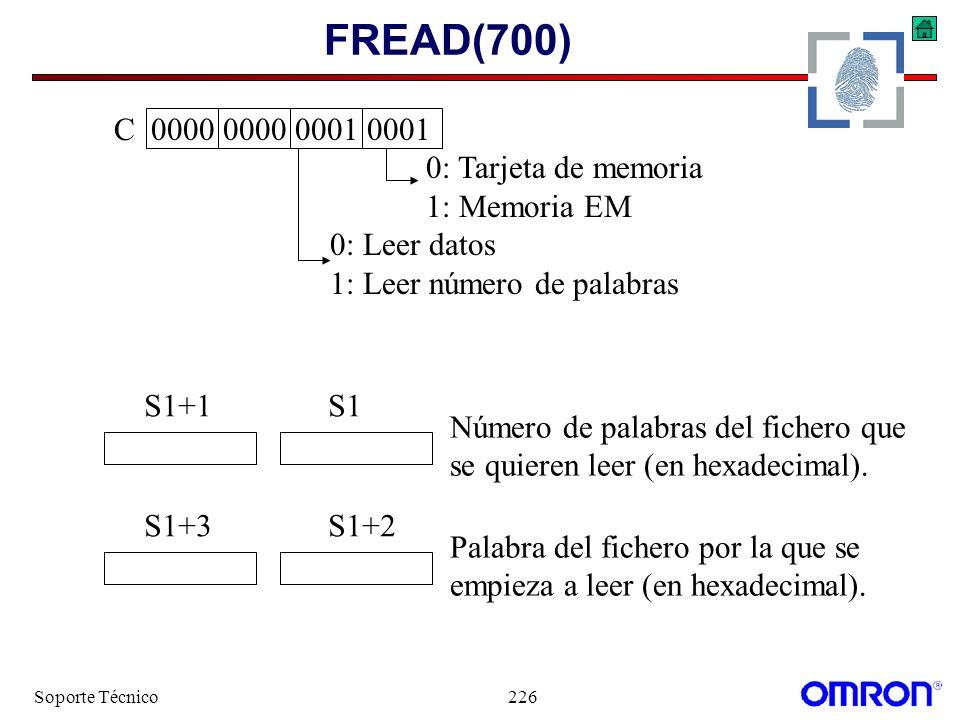 FREAD(700) C 0000 0000 0001 0001 0: Tarjeta de memoria 1: Memoria EM