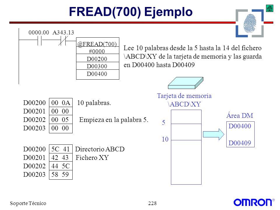 FREAD(700) Ejemplo Lee 10 palabras desde la 5 hasta la 14 del fichero