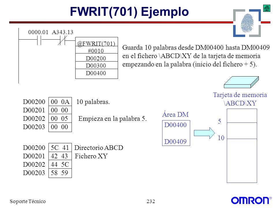 FWRIT(701) Ejemplo Guarda 10 palabras desde DM00400 hasta DM00409