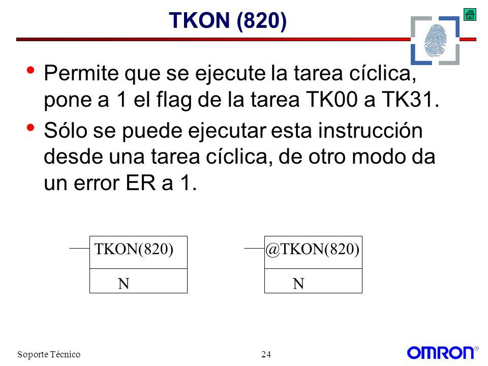 TKON (820) Permite que se ejecute la tarea cíclica, pone a 1 el flag de la tarea TK00 a TK31.