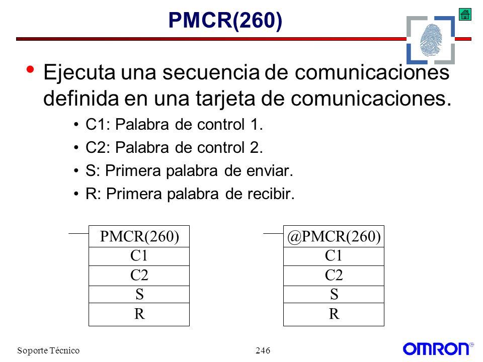 PMCR(260) Ejecuta una secuencia de comunicaciones definida en una tarjeta de comunicaciones. C1: Palabra de control 1.