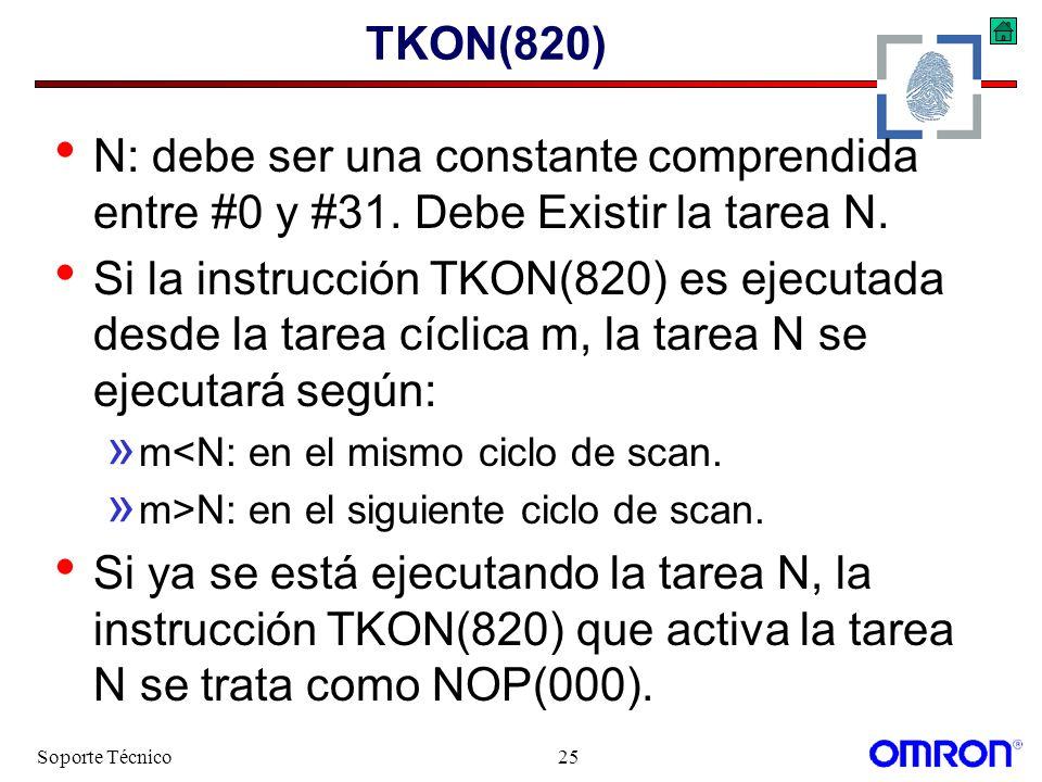 TKON(820) N: debe ser una constante comprendida entre #0 y #31. Debe Existir la tarea N.