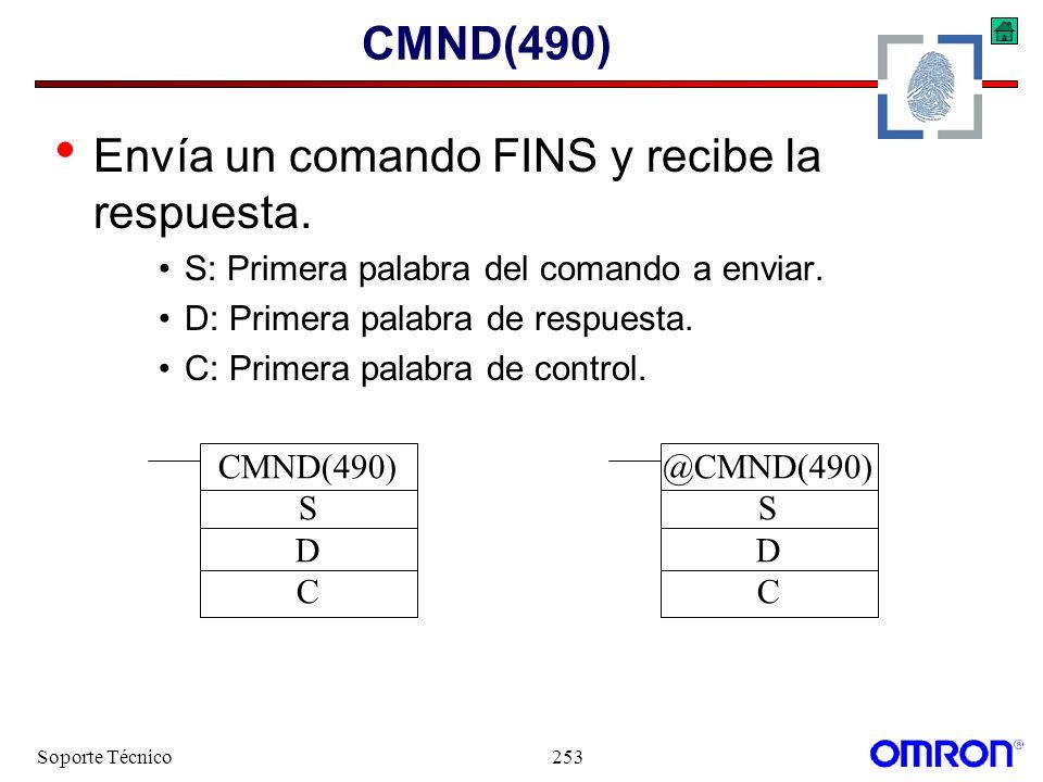Envía un comando FINS y recibe la respuesta.