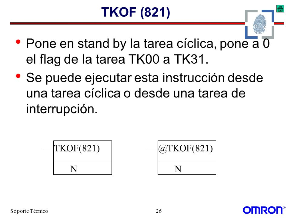 TKOF (821) Pone en stand by la tarea cíclica, pone a 0 el flag de la tarea TK00 a TK31.