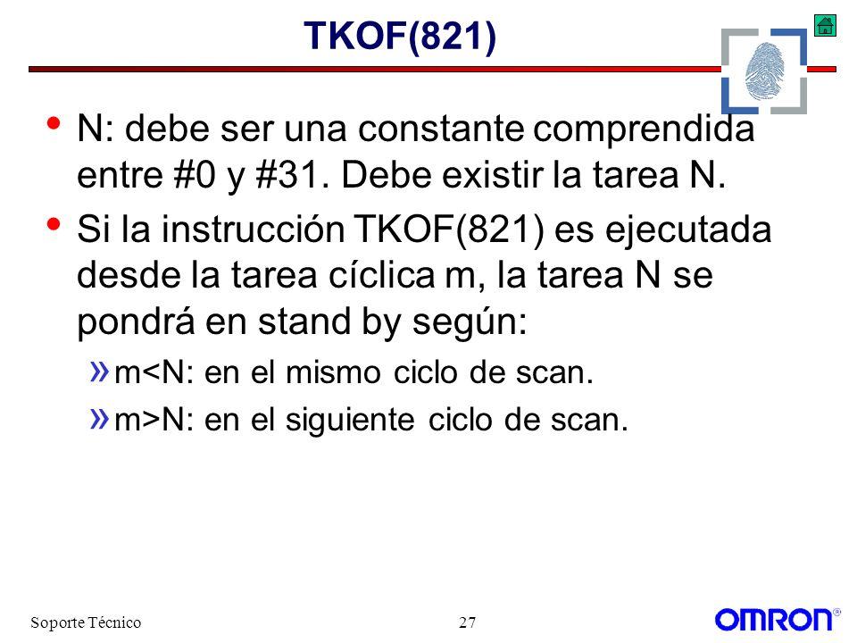TKOF(821) N: debe ser una constante comprendida entre #0 y #31. Debe existir la tarea N.