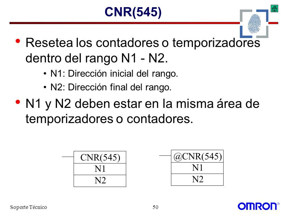 Resetea los contadores o temporizadores dentro del rango N1 - N2.