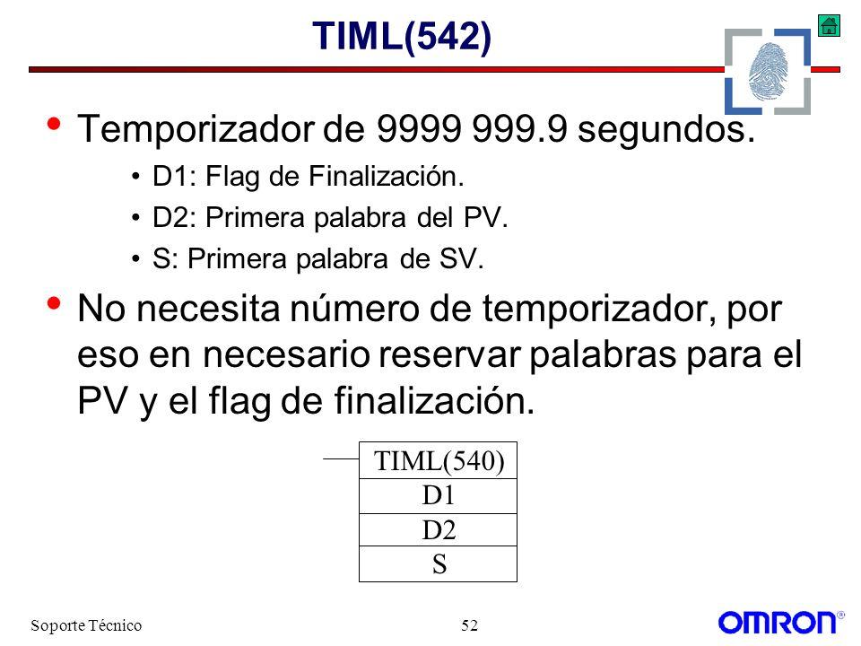 Temporizador de 9999 999.9 segundos.