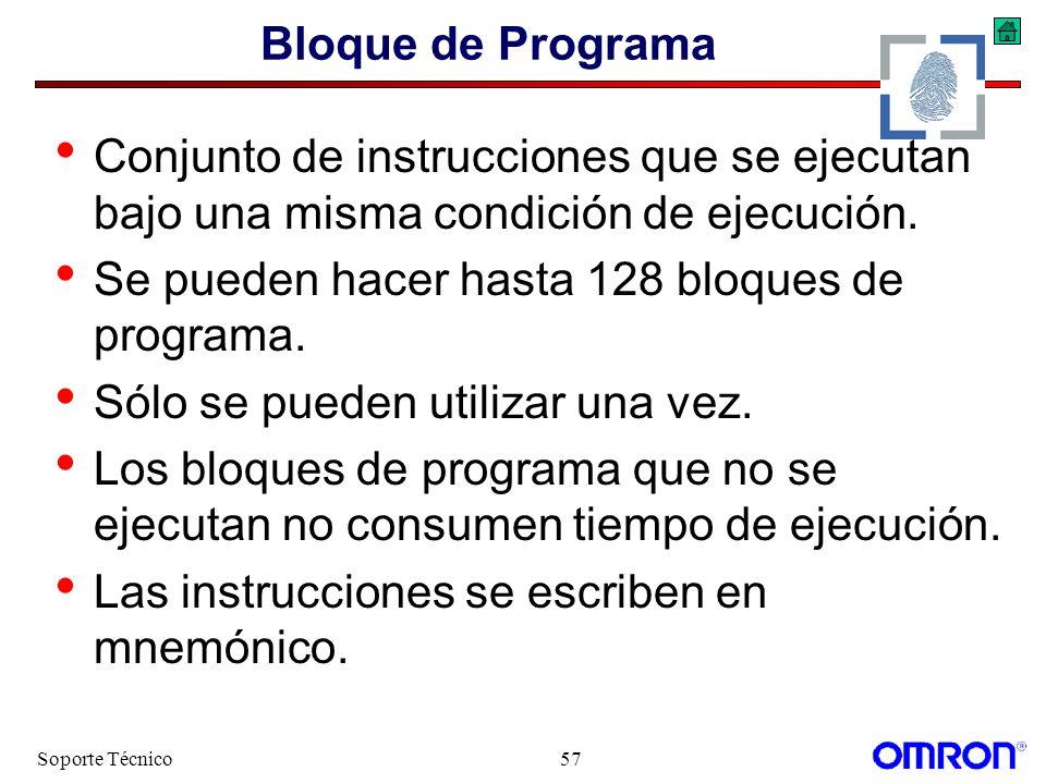 Se pueden hacer hasta 128 bloques de programa.