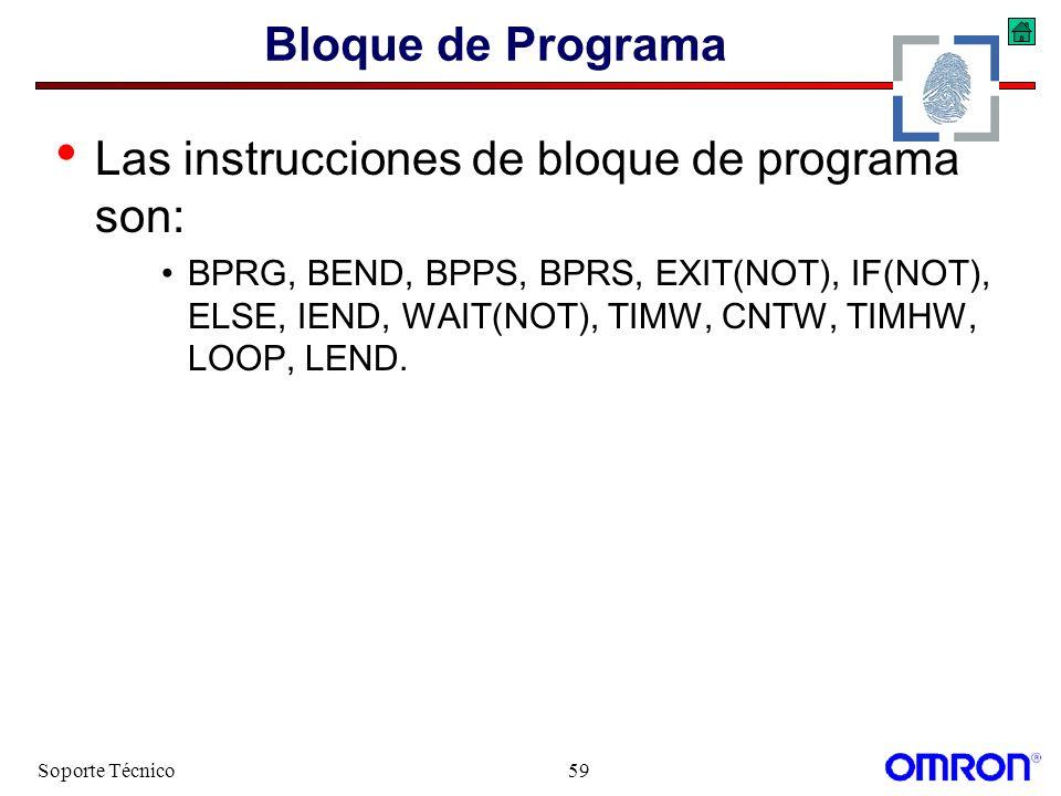 Las instrucciones de bloque de programa son: