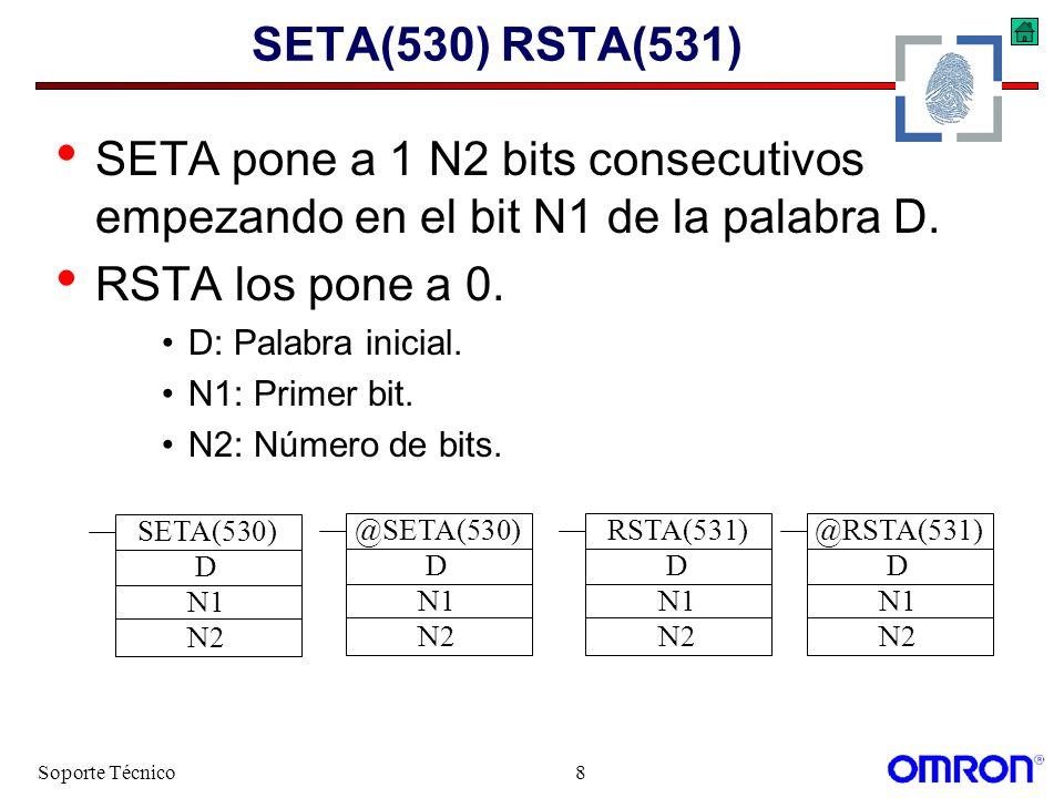 SETA(530) RSTA(531) SETA pone a 1 N2 bits consecutivos empezando en el bit N1 de la palabra D. RSTA los pone a 0.
