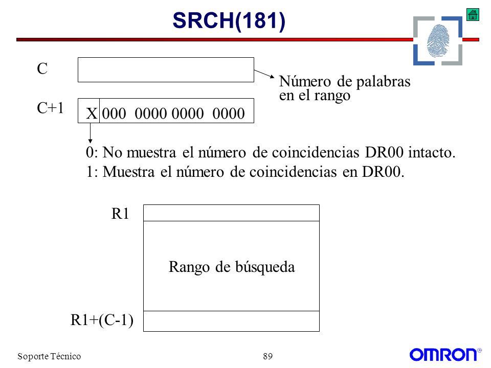 SRCH(181) C C+1 Número de palabras en el rango X 000 0000 0000 0000