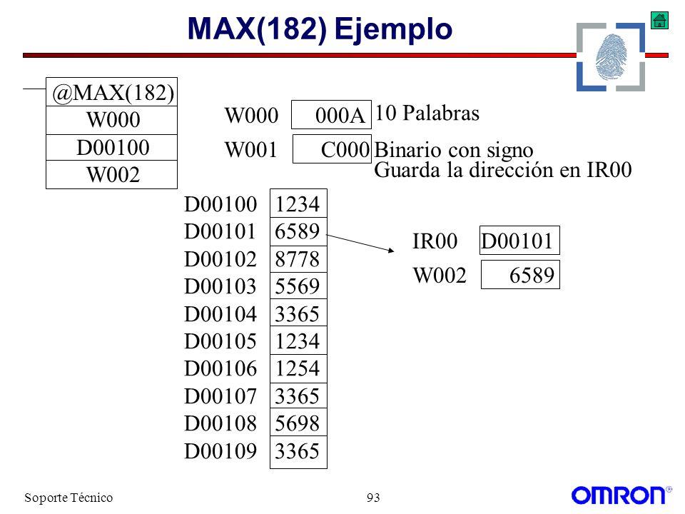 MAX(182) Ejemplo @MAX(182) W000 D00100 W002 W000 000A W001 C000