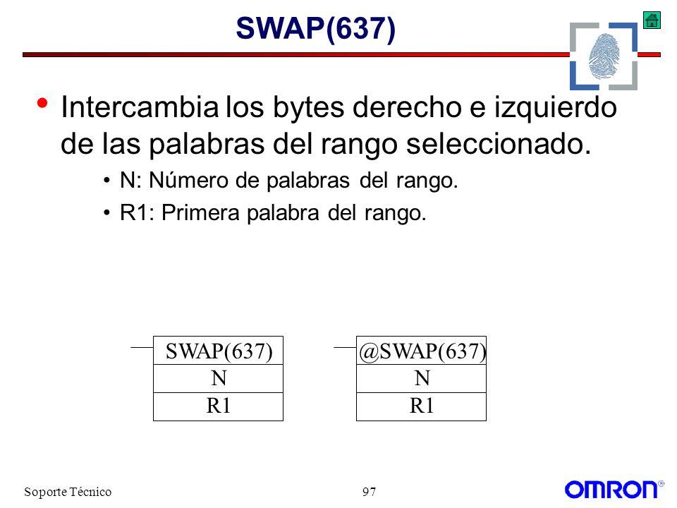SWAP(637) Intercambia los bytes derecho e izquierdo de las palabras del rango seleccionado. N: Número de palabras del rango.